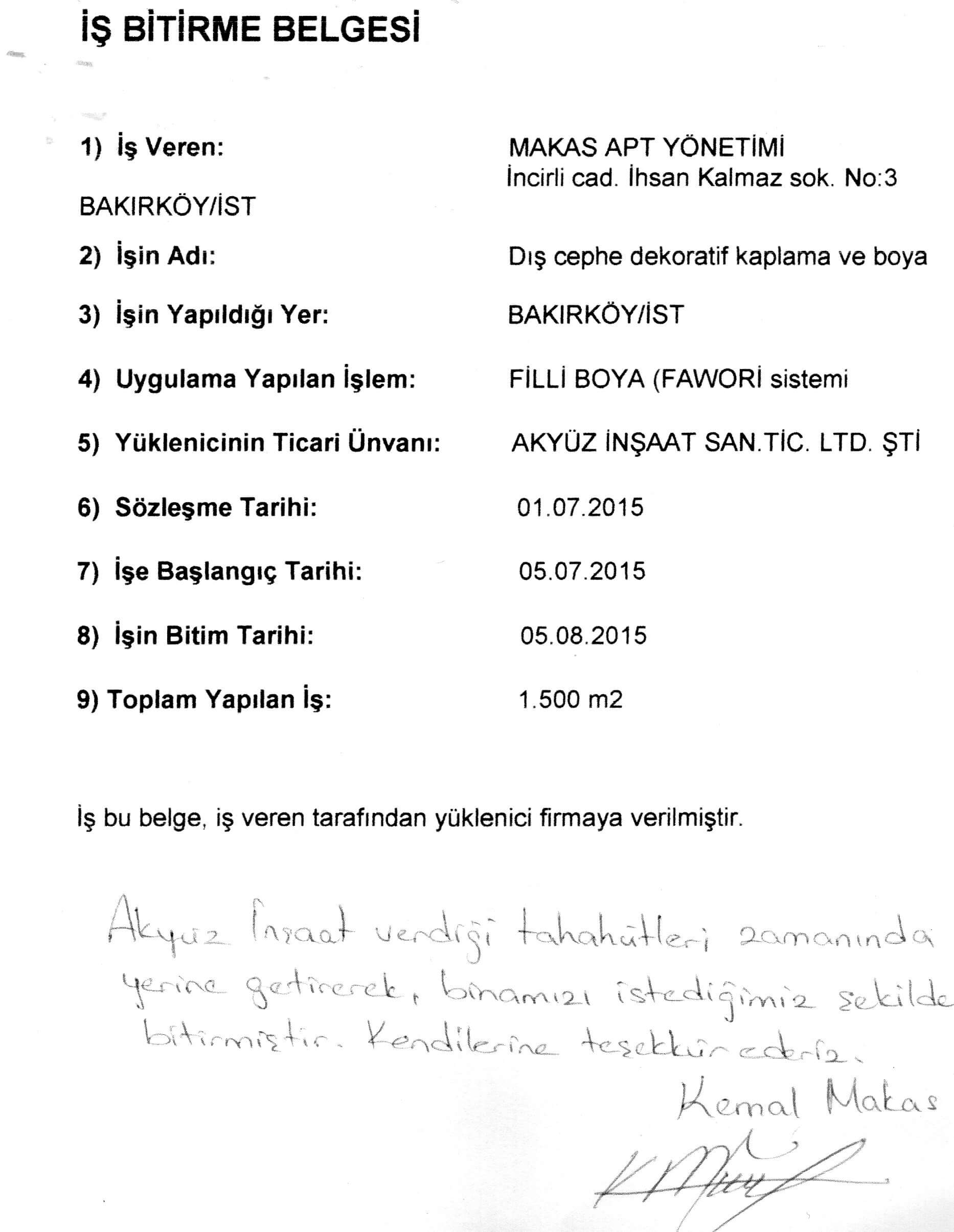 Makas Apt Bakirkoy Akyuz Insaat Ltd Sti Boya Dis Cephe Isi